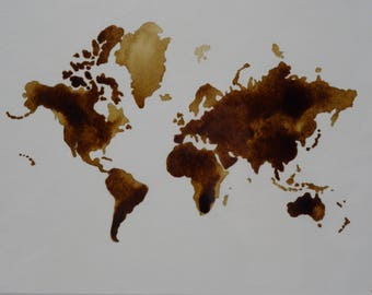 World map coffee painting