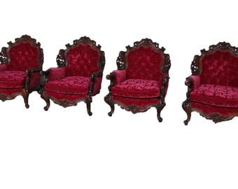 Antique Italian Baroque Arm Chairs Set of Four BEAUTIFUL #6399