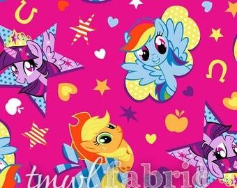 Knit Fabric - Hasbro My Little Pony Cutie Toss Fuchsia - Half Yard +