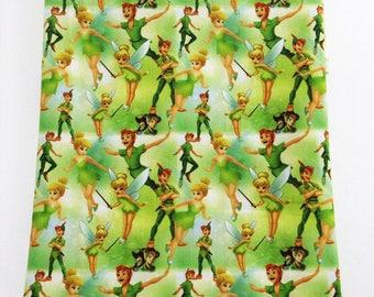"""Tissu Coton imprimé thème """" La Fée Clochette """""""