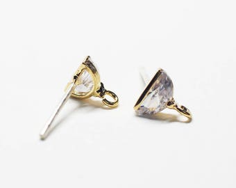 E0206/Anti-Tarnished Gold Plating Over Brass + Sterling Silver Post/Semi Circular Stud Earrings/6X6.5mm(include ring)/2pcs
