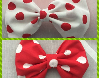 Fabric hair bow, holiday hair bow, Christmas hair bow, hair bow. White bow with red dots. Red bow with white dots