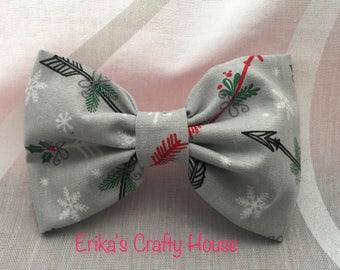 Fabric hair bow, holiday hair bow, Christmas hair bow, hair bow. Christmas arrows hair bow