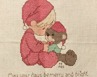 Completed cross stitch; Precious moments; boy with bear; Christmas x-stitch; finished needlework; X137
