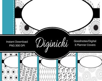 Turquoise, Black, White 02 - Digital Covers for Goodnotes Digital Planners and Journals - PNG & Printable