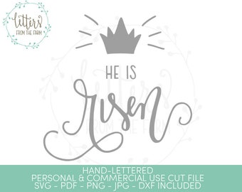He Is Risen SVG, Easter SVG, Easter Decor, Christian Easter, He Is Risen Printable