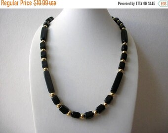 ON SALE Vintage TRIFARI Black Lucite Plastic Gold Tone Metal Beads Necklace 91217