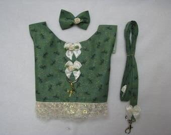 Dog Pet Rabbit Pig Cat Green Dragonfly Lacy Pet Harness Vest XS-M Leash Hair Bow Charm Yorkie Maltese ShihTzu Chihuahua Rabbit