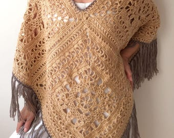 Hippie poncho, granny square poncho,  boho poncho, beige poncho, crochet fringed poncho, gift for her, fast shipping, ready to ship.