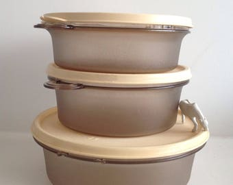 Vintage set of three Tupperware containers