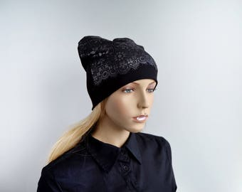 Black beanie Beanie hat Autumn beanie Women's beanie hat Winter hat Beanie with lace Sport beanie Knitwear beanie Slouchy beanie hat H5026