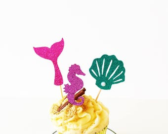 Mermaid Cupcake Toppers, Seahorse, Seashell, Under the Sea, Little Mermaid Party, Glitter Toppers, Princess Birthday Party, Set of 12
