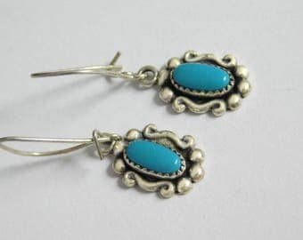 Vintage Sterling Silver Natural Turquoise Earrings