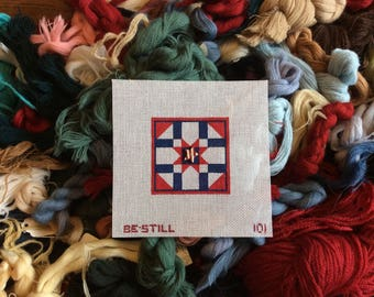 Patriotic Star: a hand-painted needlepoint canvas