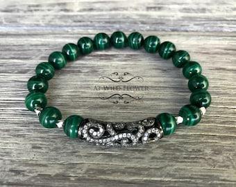 Malachite bracelet, Gemstone Bracelet, Green Bracelet, Semiprecious Jewelry, Gift for Her, Gift Idea, Statement Bracelet, Fancy Bracelet