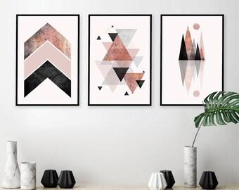 Set of 3 Downloadable Geometric Prints in Blush Pink Black Grey Rose Gold Minimalist Mountains Scandinavian Modern Poster Trending Now Art