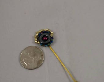 Beaded lapel pin, pin jewelry, beaded jewelry, pearl pin
