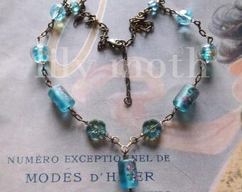 Handmade Necklace with Glass Beads in Pale Blue and Pink