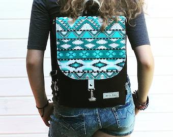 Turquoise Mini Backpack, Aztec Black Rucksack, 2in1 Macbook Bag, Toddler School Bag, Waterproof Bag, Festival Bag, Birthday Gift for Women