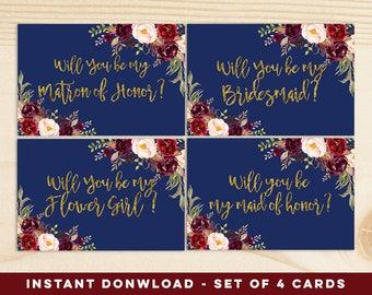 Navy Blue Will You Be My Bridesmaid printable, instant download, Navy Boho Printable Card, Boho Proposal Bridesmaid Card, Autumn Wedding