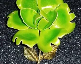 Vintage Enamel Lime Green Flower Pin Brooch with Goldtone stem.