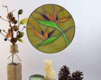 Bird of Paradise Flower Stained Glass Garden Decor Nature Lovers Gift, Yoga Studio Art, Wall Art, Bedroom Art, Gift for Her, Gift under 45