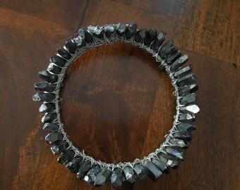 black quartz crystal crown, silver circlet, crystal diadem, boho bridal halo headpiece, crystal moon hair accessories, celestial wedding