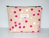 Pink Zipper Bag, Blush Pink Pencil Pouch, Pearlescent Dots, Navy Zipper, Pink Lining, Make Up Zipper Bag