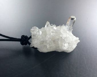 Unisex Natural Raw Columbian Quartz Cluster Specimen Pendant with Sterling Silver Black Leather Cord Necklace