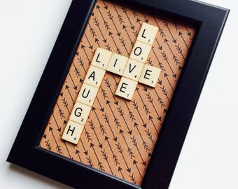 Live Laugh Love | Love | Anniversary | Wedding | Friends | Home | Gift | Scrabble | Retro