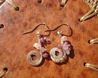 Hammered Gold and Pink Sapphire Dangle Earrings