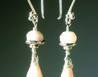 Peruvian Pink Opal and Sterling Silver Long Dangle Earrings