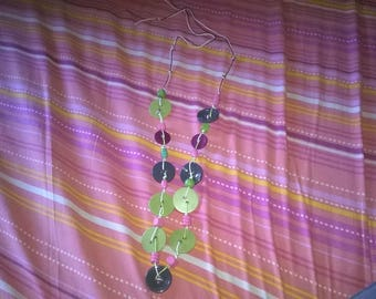handmade necklace with recycled buttons