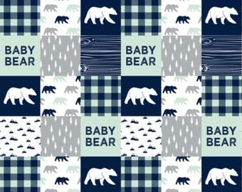 Navy and mint baby bear minky blanket, pwiidlqnd, baby boy, woodland