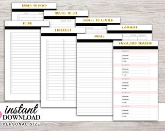 Printable Planner - Notes - To Do - Fun Lists - Password Tracker - Filofax Personal - 3.75 x 6.75 - Design: Goldie