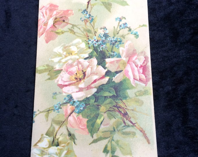 Catherine Klein Postcard, Artist Signed (Underlined) Pink White Roses, Writing on Reverse, Good Condition, Circa 1910, Half Penny Stamp