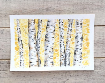Small Watercolor Aspen Trees