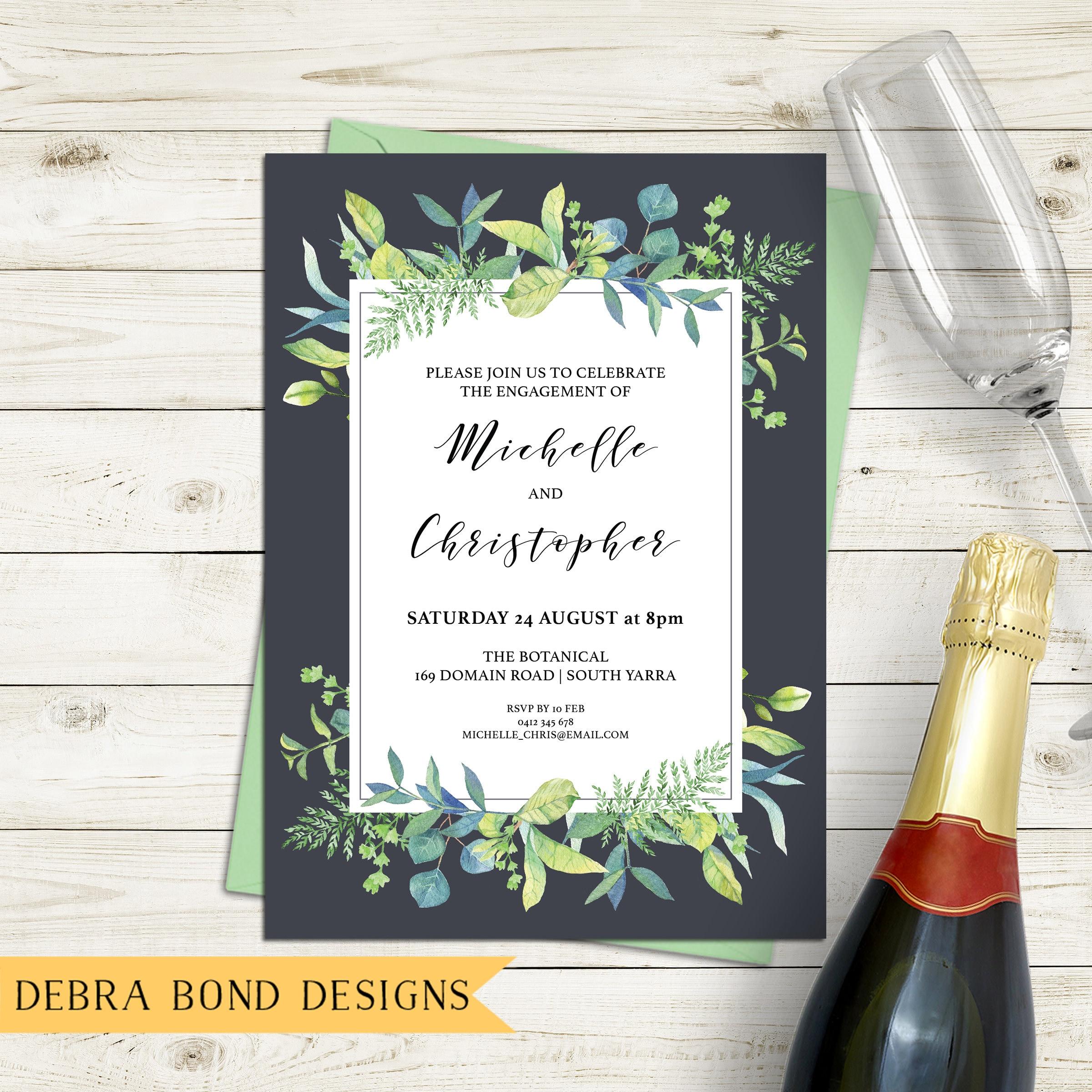 Engagement invitation, wedding invitation, leaf invitation ...