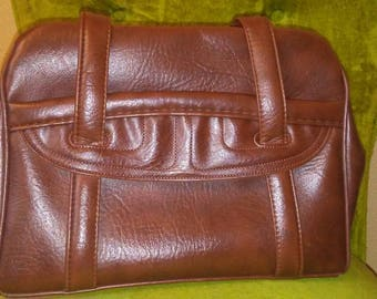 Large Chocolate Brown 70s Faux Leather Purse