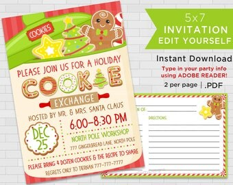 Printable Holiday Cookie Exchange Invitations, Christmas Cookie Swap Invites, Christmas Party Invitations, Edit Yourself, Instant Download