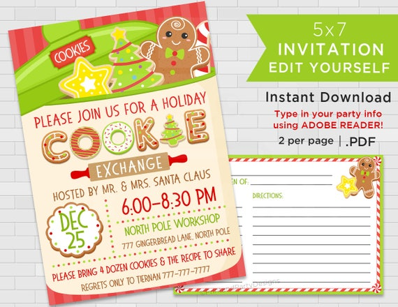 Printable holiday cookie exchange invitations christmas cookie swap il570xn solutioingenieria Image collections