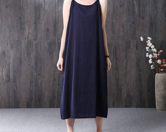 Loose fitting cotton and linen long dress summer dress linen tunic dress linen dress casual dress linen clothing