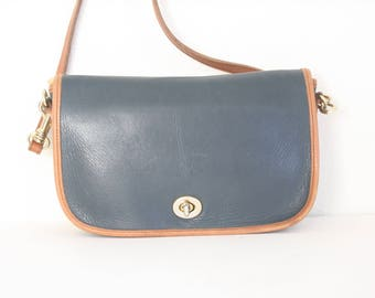 Vintage Two Tone Cross Body Leather Bag
