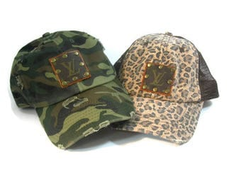 Camo Louis Vuitton upcycled baseball/trucker hat! Camo, Leopard, Black Leather! Gift for her!  riveted on LV logo! adjustable hat! teen gift