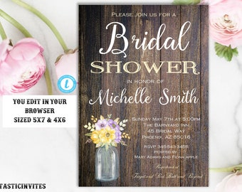Rustic Bridal Shower Invitation Template, Instant Download, Editable, Printable, Template, Bridal Shower Invitation, INSTANT DOWNLOAD, DIY