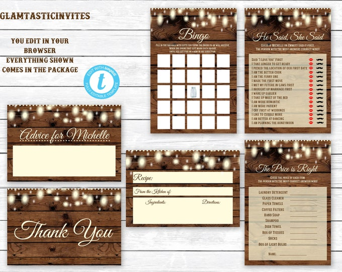Bridal Shower Games Package Template, Editable, Printable, Instant Download, Editable Bridal Shower Template, Rustic Bridal Shower Template