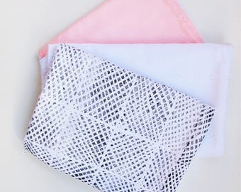Baby burp clothes, set of 3, baby shower, newborn gift, pink, white lace, monochrome