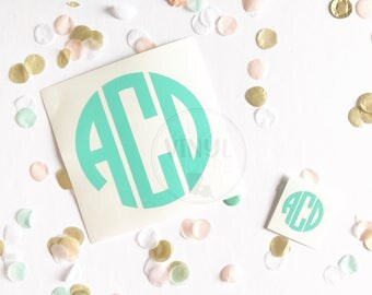 Monogram Decals for Swell Bottles {Front Bottle and Small Cap/Lid Decal SET}