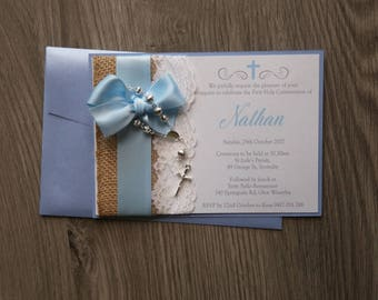 Handmade Girls Boys Lace Bow Baptism Christening Invitation with Rosary beads Rustic Vintage
