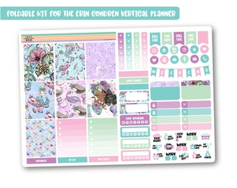 MERMAID GLITTER weekly planner kit, Cheap stickers kit, Mini planner kit perfect for the vertical Erin Condren, Cute weekly kit - Foldable!